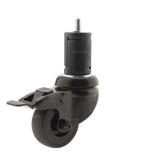 Zwenkwiel 50 black line 2TP ronde buis 40-45mm met rem
