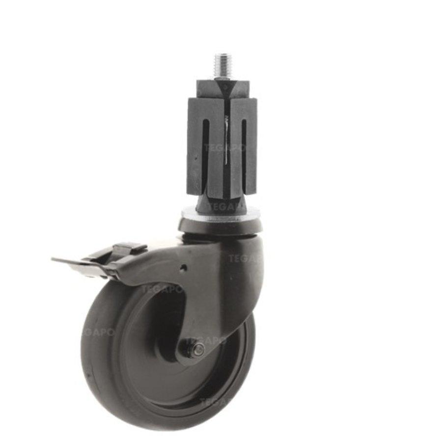 Zwenkwiel 100 black line 2TP vierkante koker 27-30mm met rem