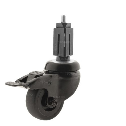 Zwenkwiel 50 black line 2TP vierkante koker 32-35mm met rem