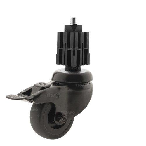 Zwenkwiel 50 black line 2TP vierkante koker 36-40mm met rem