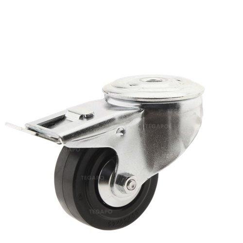 Zwenkwiel rubber 80 3KA boutgat met rem