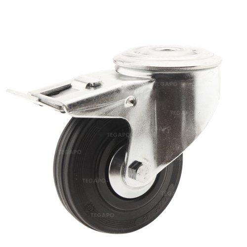 Zwenkwiel rubber 100 3KA boutgat met rem