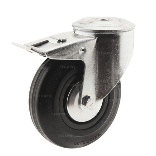 Zwenkwiel rubber 125 3KA boutgat met rem