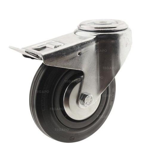 Zwenkwiel rubber 160 3KA boutgat met rem
