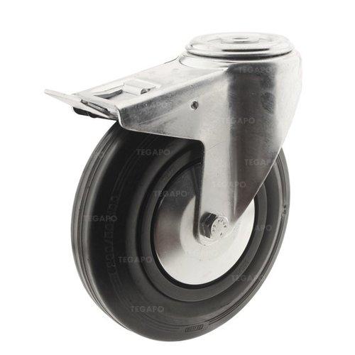 Zwenkwiel rubber 200 3KA boutgat met rem