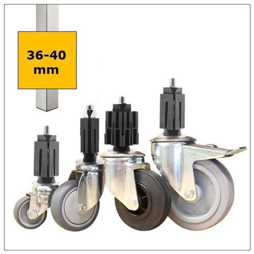 Wielen voor vierkante koker 36-40mm