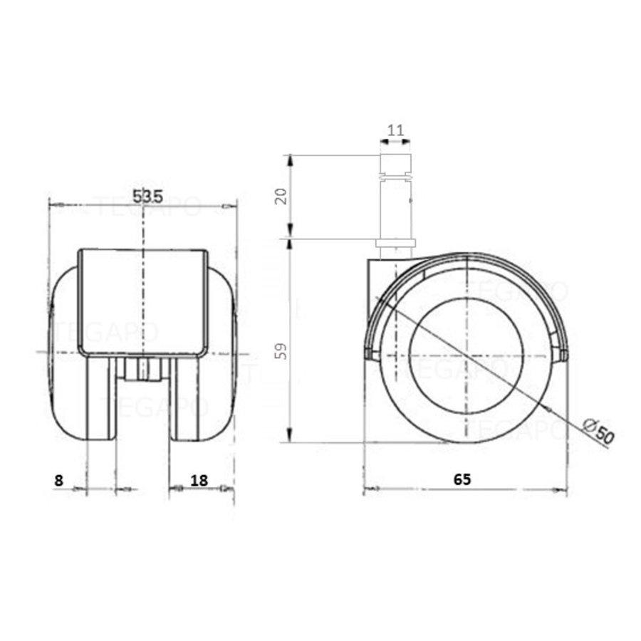 PP luxe wiel chrome metaal stift 11mm