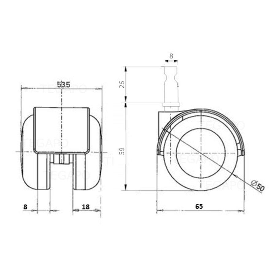 PP luxe wiel chrome metaal stift 8mm