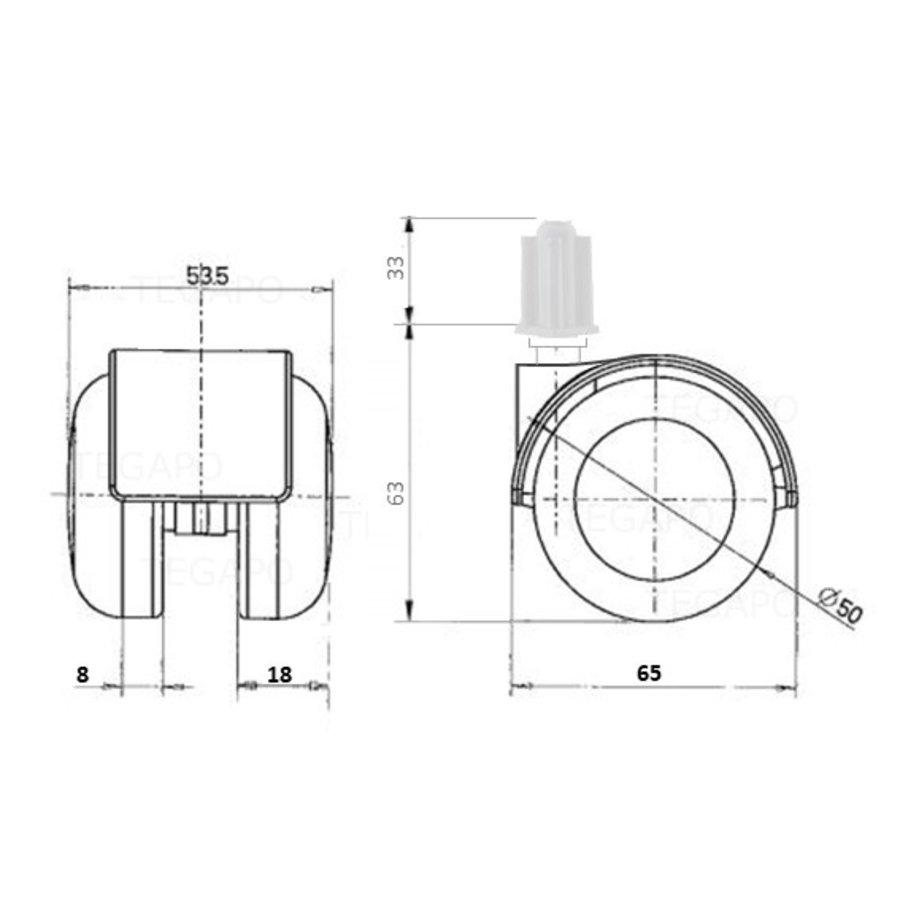 PP luxe wiel chrome metaal plug vierkant 18mm