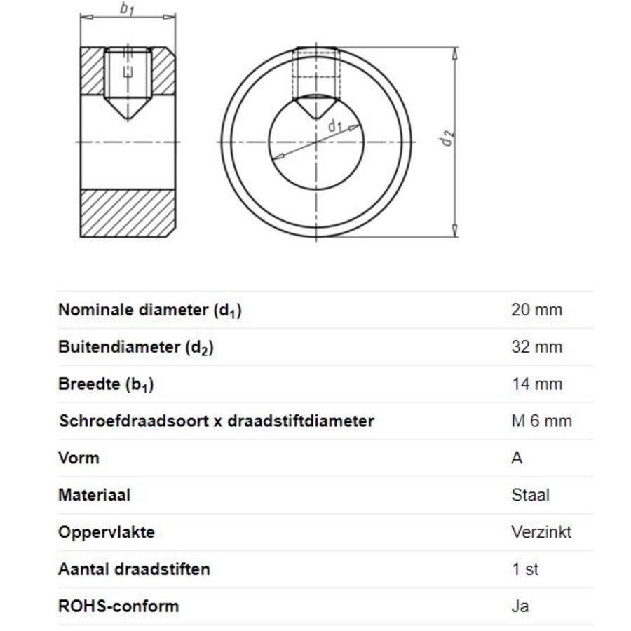 Stelring voor asdiameter 20mm