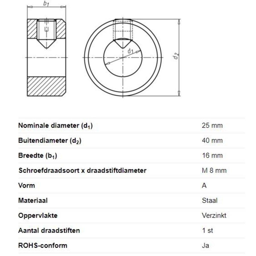 Stelring voor asdiameter 25mm