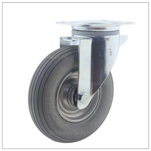 Bok-en zwenkwielen met massieve band lage bouwhoogte plaatbevestiging