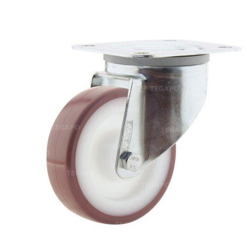 Zwenkwiel nylon 3NOP 100mm plaatbevestiging