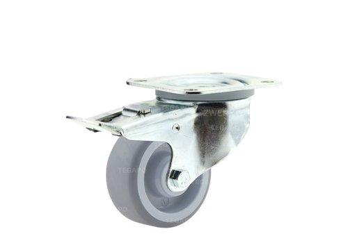 Zwenkwiel nylon 3NOP 80mm plaatbevestiging met rem
