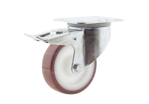 Zwenkwiel nylon 3NOP 100mm plaatbevestiging met rem