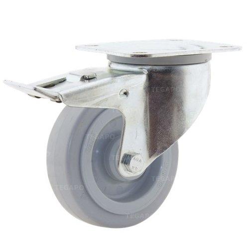 Zwenkwiel elastisch rubber 100 3KO plaat met rem