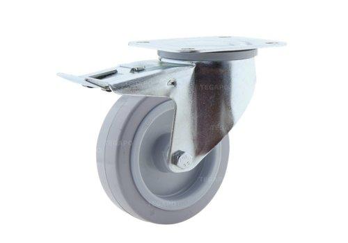 Zwenkwiel elastisch rubber 125 3KO plaat met rem