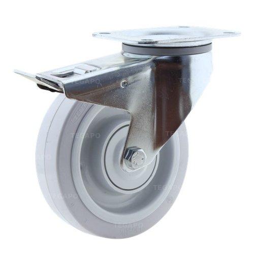 Zwenkwiel elastisch rubber 160 3KO plaat met rem