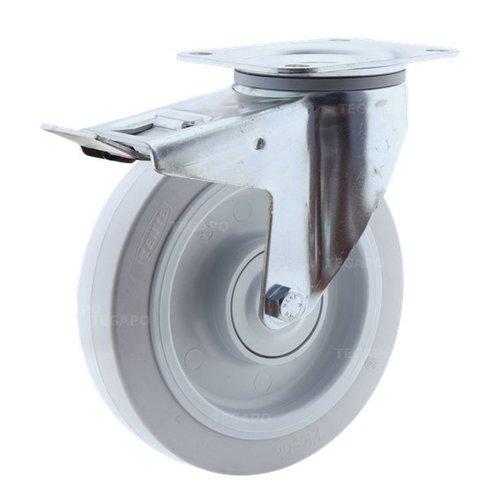 Zwenkwiel elastisch rubber 200 3KO plaat met rem