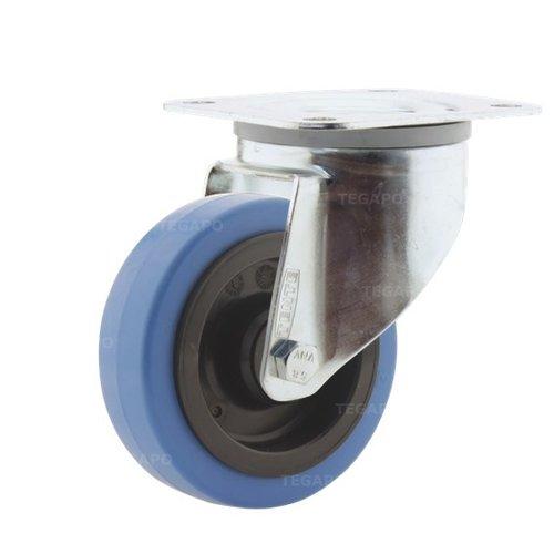 Zwenkwiel elastisch rubber blauw 100 3KO plaat