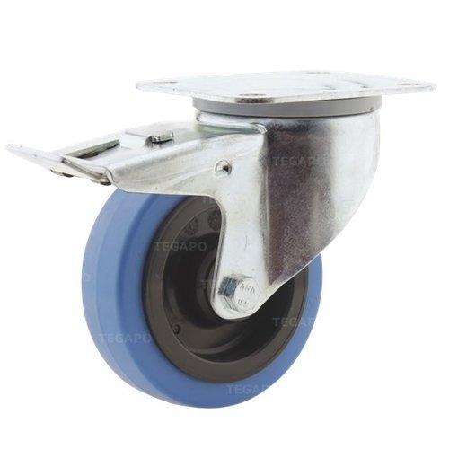 Zwenkwiel elastisch rubber blauw 100 3KO plaat met rem