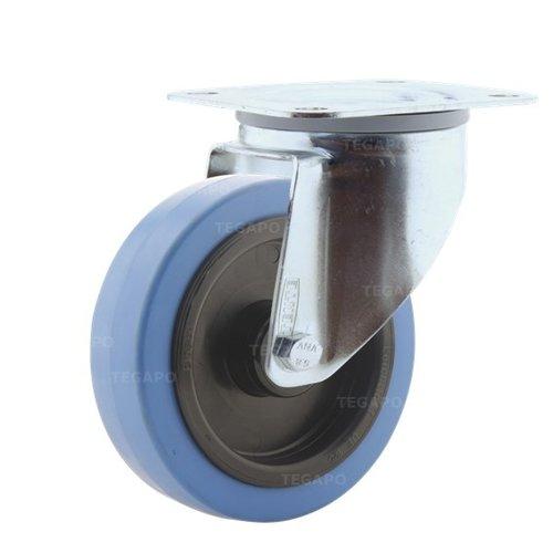 Zwenkwiel elastisch rubber blauw 125 3KO plaat