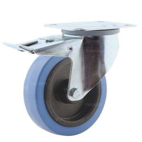 Zwenkwiel elastisch rubber blauw 125 3KO plaat met rem