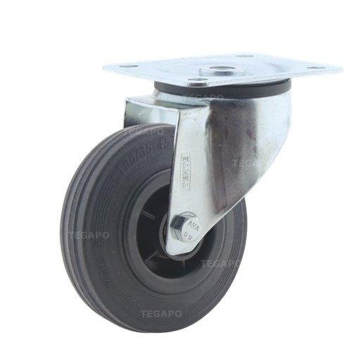 Zwenkwiel rubber 100 3KO plaat