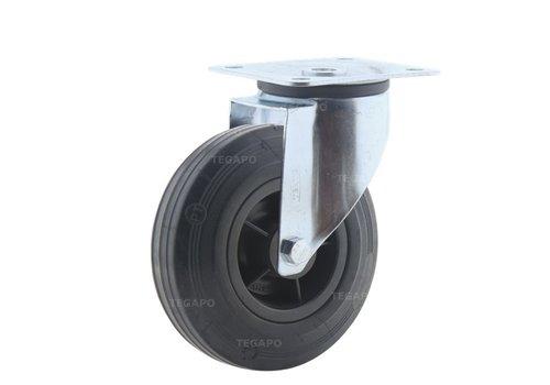 Zwenkwiel rubber 125 3KO plaat