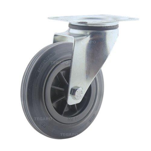 Zwenkwiel rubber 160 3KO plaat
