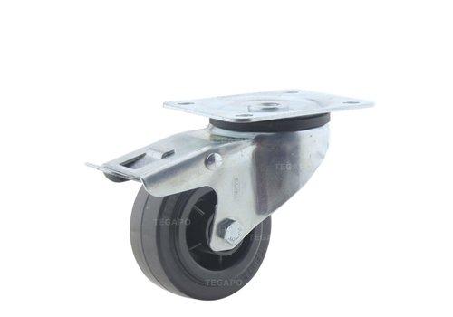 Zwenkwiel rubber 80 3KO plaat met rem