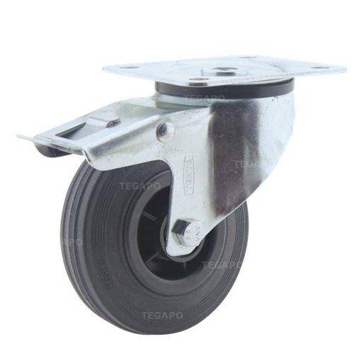 Zwenkwiel rubber 100 3KO plaat met rem