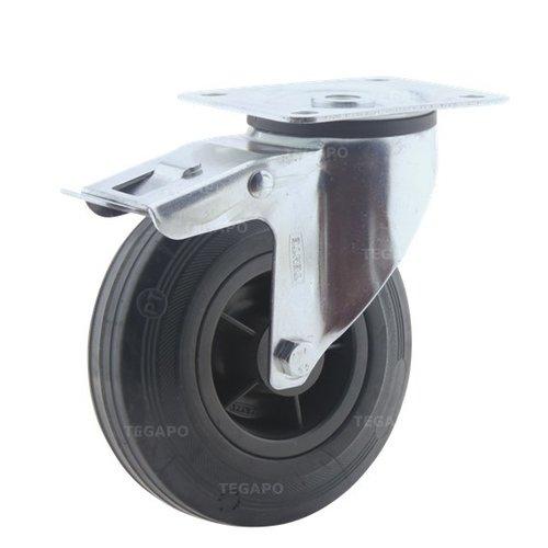 Zwenkwiel rubber 125 3KO plaat met rem