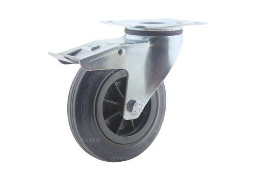 Zwenkwiel rubber 160 3KO plaat met rem