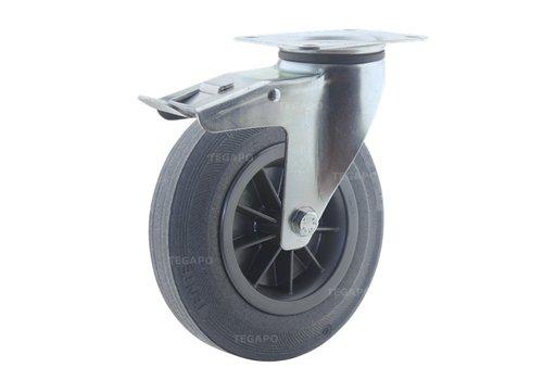 Zwenkwiel rubber 200 3KO plaat met rem