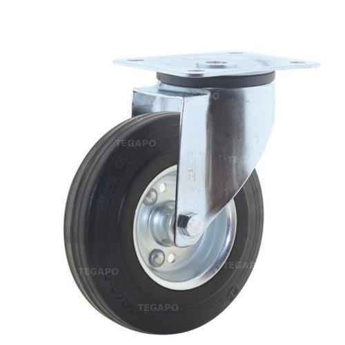 Zwenkwiel rubber 125 3SO plaat