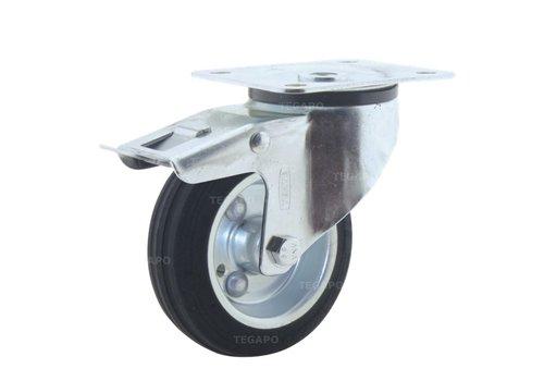 Zwenkwiel rubber 100 3SO plaat met rem