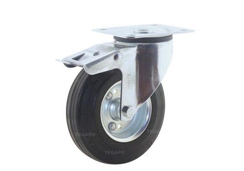 Zwenkwiel rubber 125 3SO plaat met rem