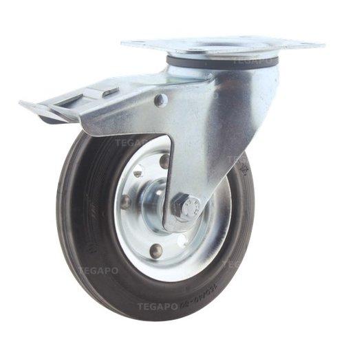 Zwenkwiel rubber 160 3SO plaat met rem