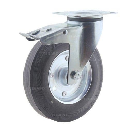Zwenkwiel rubber 200 3SO plaat met rem