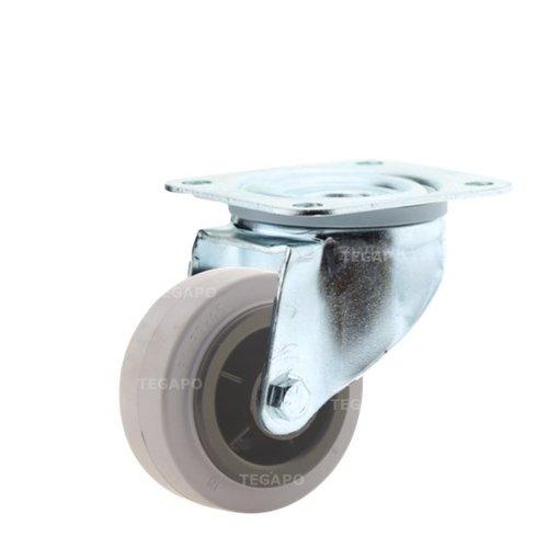Zwenkwiel rubber indoor 80 3KO plaat