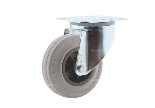 Zwenkwiel rubber indoor 125 3KO plaat