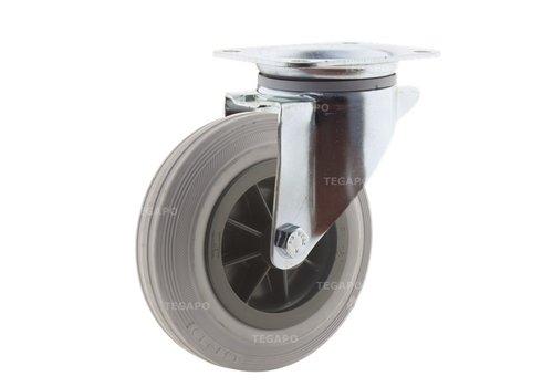 Zwenkwiel rubber indoor 160 3KO plaat