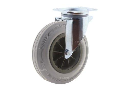 Zwenkwiel rubber indoor 200 3KO plaat
