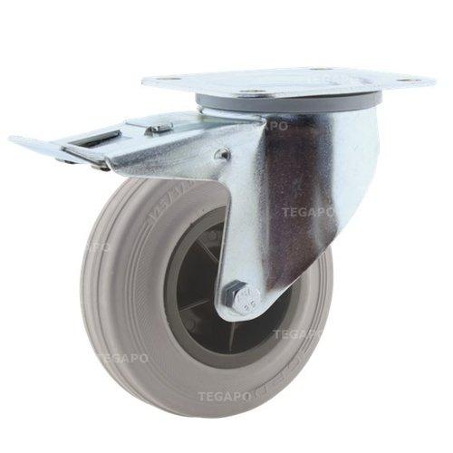 Zwenkwiel rubber indoor 125 3KO plaat met rem