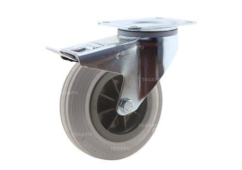 Zwenkwiel rubber indoor 160 3KO plaat met rem