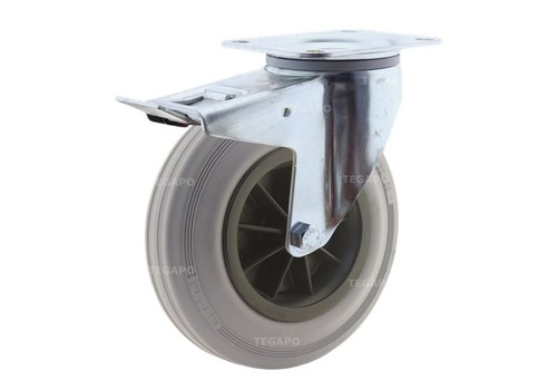 Zwenkwiel rubber indoor 200 3KO plaat met rem