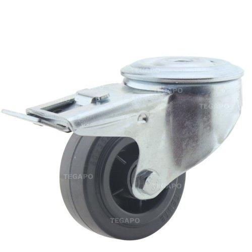 Zwenkwiel rubber 80 3KO boutgat met rem