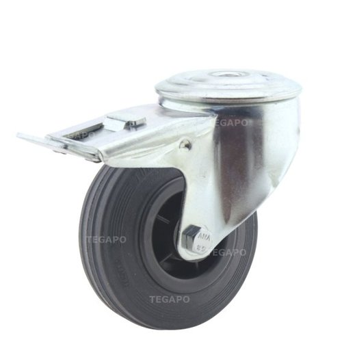 Zwenkwiel rubber 100 3KO boutgat met rem