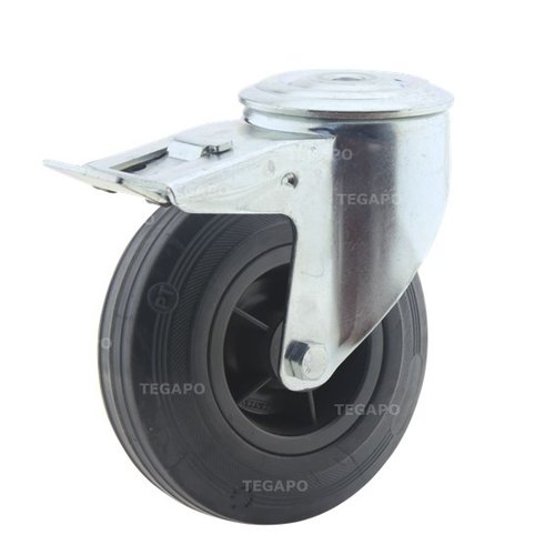 Zwenkwiel rubber 125 3KO boutgat met rem